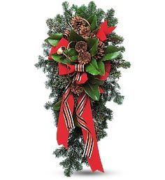 Best Florist in Miami & Hialeah - Flowers & Chocolates - Balloons - New Born - Anniversary Flowers - Sympathy Floral Arrangements - Delivery of Flowers near me Christmas Swags, Christmas Flowers, Christmas Door, All Things Christmas, Christmas Decorations, Christmas Ideas, Grave Flowers, Cemetery Flowers, Funeral Flowers