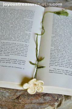 Handmade Crochet Bookmark Cream Trumpet Flower by joyoustreasures