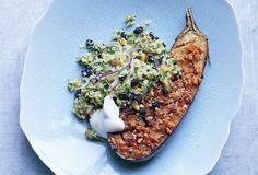 Spiced Eggplant with Bulgur Salad - Bon Appétit
