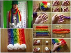 How to finger knit a rainbow scarf