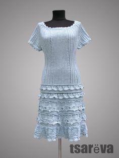 Crochet dress Lily. Glacier blue special occasion or cocktail cotton crochet dress. Made to order. by TsarevaCrochet on Etsy