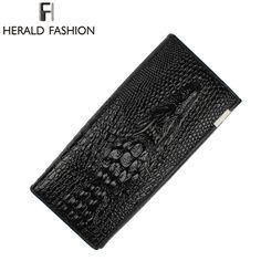 Herald Fashion Wanita Dompet Buaya Kepala Sapi Dompet Kulit PU Wanita Tas  3D desainer Panjang Klip Uang Carteira Feminina ed8bc43d9d