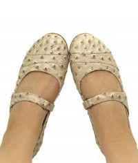 Nude Ostrich - Womens nude beige ostrich mary jane flats shoes