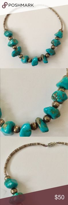 Native American Navajo Pearl Turquoise necklace Vintage Native American made necklace.  This is made with genuine turquoise nuggets, Heishi beads, and Sterling Silver Navajo pearls.   16 in long.  Great condition Vintage Jewelry Necklaces