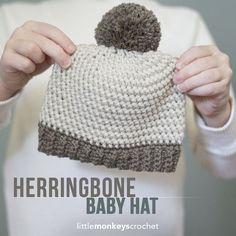 Herringbone Baby Hat Crochet Pattern, Sizes Newborn - 12 months | Free baby hat crochet pattern with ribbed brim and pom pom by Little Monkeys Crochet:
