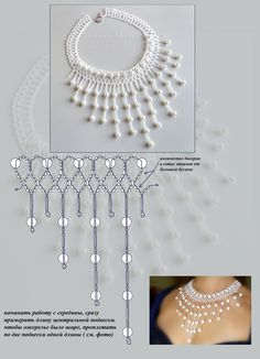 Netted necklace - this would be great for bead work on my belly dancing skirt. The diagram is detailed enough to be able to figure out the pattern. The materials include seed beads, bugles and pearls. Photo from album Beading Projects, Beading Tutorials, Beading Patterns, Knitting Patterns, Bead Crafts, Jewelry Crafts, Handmade Jewelry, Jewelry Ideas, Necklace Ideas