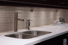 Random Subway Linear Glass Tile Perfect for a Kitchen Backsplash