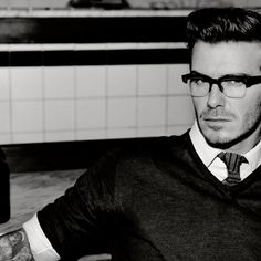 Glasses. Jumper. Shirt. Tie. David Beckham.