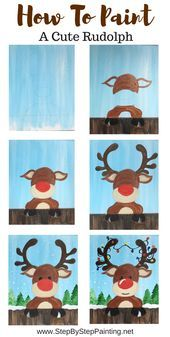 How To Paint A Cute Rudolph - Step By Step Painting - Basteln frühling - Welcome Crafts Christmas Art Projects, Christmas Diy, Christmas Crafts, Fun Art Projects, Christmas Art For Kids, Rudolph Christmas, Preschool Christmas, Preschool Crafts, Christmas Cookies
