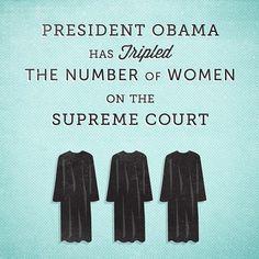 supreme court (technically, he's appointed 2 women - Elena Kagan & Sonia Sotomayer)