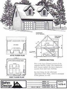 Apartment Garage Interior Plans With Loft -1476-4 by Behm Design