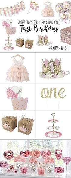 Pink and Gold First Birthday Party Theme Ideas - Birthday birthday girl party ideas. More in my web site Pink and Gold First Birthday Party Theme Ideas - Birthday Girl First Birthday Girl, Party Ideas. Pink And Gold Birthday Party, 1st Birthday Party For Girls, 1st Birthday Princess, Gold First Birthday, Girl Birthday Themes, Birthday Party Outfits, Cake Birthday, Birthday Ideas, Diy Birthday