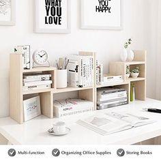 Wood Desktop Adjustable Organizer Storage Rack – Office organization at work Home Office Storage, Home Office Organization, Desktop Organization, Home Office Space, Home Office Design, Bedroom Storage, Home Office Decor, Home Decor, Office Designs
