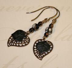 Metal Leaf earrings Vintaj earrings heart by CharmingLifeJewelry, $15.00