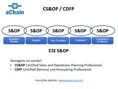 Referência em S&OP! Vantagens no combo CS&OP Certified Sales and Operations Planning Professional + CDFP Certified Demand and Forecasting Professional: www.achain.com.br