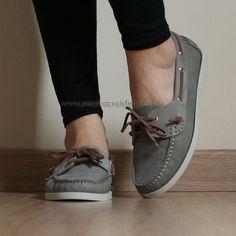 Sapato Mocassim Dockside Feminino Conforto Drive Cinza Couro Legítimo Alto Luxo #sapatilha #baixo #dia