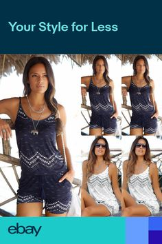 0aeb95eb781 Plus Size 6-18 Womens Straps Pocket Holiday Playsuit Dress Shorts Beach  Jumpsuit