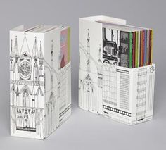 Magazine Organizers designed for the Swedish Museum of Architecture by Goteburg-based branding and packaging experts Happy Forsman & Bodenfors. The illustrations by Klas Fahlen depict various eras of Swedish architecture.