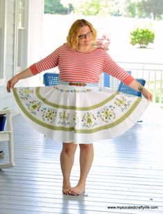 DIY Style- Vintage Tablecloth Circle Skirt - My So Called Crafty Life
