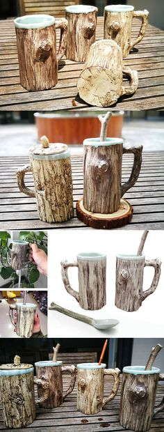 Ceramic Tree Bark Coffee Mug With Lid Looks Like a Tree trunk.