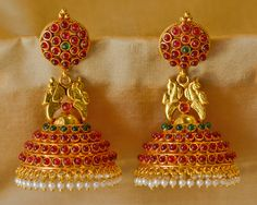 Royal Tradional Antique Golden Stone Studded Handmade Hanging/jhumka/earrings