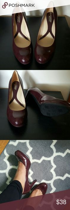 Naturalizer heels Size 9M shiny burgundy heels. Never worn. Perfect for a night out or for the office. Heel is 3 1/2 inches Naturalizer Shoes Heels
