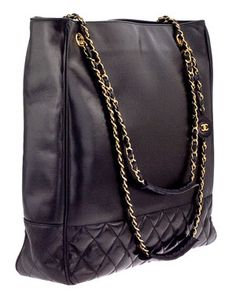 Chanel Black Leather Tote with Quilted Details
