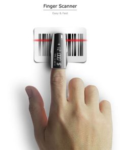 Finger Scanner – Barcode Scanner by Seokmin Kang - The Finger Scanner is a barcode scanner that you can put on your finger and scan stuff at the grocery store. The idea is to reduce the wait time at the checkout line and get billing done more efficiently.