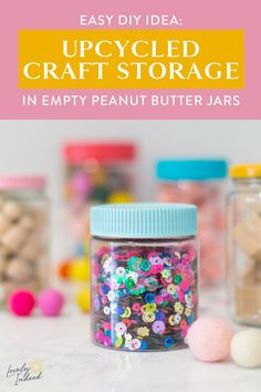 An empty peanut butter jar has endless possibilities! Once you finish the good stuff inside, use one of these ideas or recipes to make use of the jar. Diy Arts And Crafts, Creative Crafts, Home Crafts, Crafts For Kids, Diy Crafts, Sewing Room Storage, Sewing Rooms, Craft Organization, Craft Storage