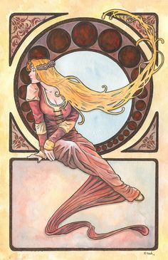 This is the 12th Art Nouveau/Alphonse Mucha inspired watercolor painting I've done this year.    The painting is on 12x18 inch Strathmore Cold Press watercolor paper. Done in watercolors and ink.    Original paintings can be purchased here…    http://www.etsy.com/shop/ScottChristianSava?section_id=11821287    and Limited Edition Prints can be purchased here…    http://www.etsy.com/shop/ScottChristianSava?section_id=11821297