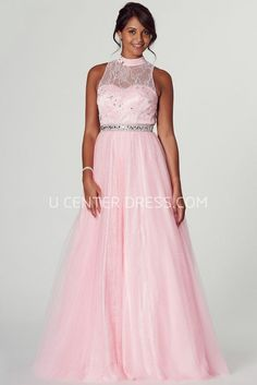$143.29-Eelgant High Neck Appliqued Sleeveless Pink Evening Gown with illusion Neck and Open Back. http://www.ucenterdress.com/a-line-high-neck-appliqued-sleeveless-tulle-prom-dress-pMK_301664.html.  Shop for affordable evening gowns, prom dresses, white dresses, party dresses for women, little black dresses, long dresses, casual dresses, designer dresses, occasion dresses, formal gowns, cocktail dresses . We have great 2016 Evening Gowns on sale now. #evening #gowns