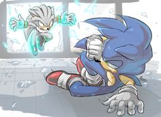 Take this! by Myly14.deviantart.com on @DeviantArt Sonic VS Silver. Who will win?