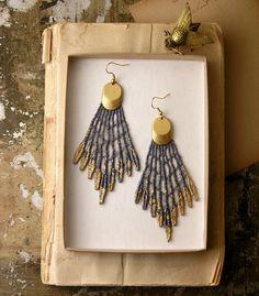 lace earrings- GALATEA- gray metallic - tribal. $25.00, via Etsy.