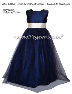 2a886b11f12 Bisque and Navy Silk Flower Girl Dress with Navy Tulle