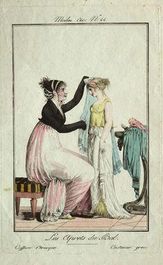 Modes et Manières No. 44: Les Aprets du Bal (Costume Etrusque. Costume grec)