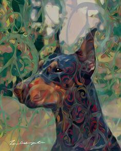 Doberman Fine Art by TimsPopArt on Etsy