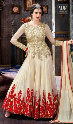 Awesome Beige Color Georgette Anarkali Suit  Beige faux georgette anarkali suit with stone work enhances the embroidered leaf patterns on body and floral patterns on lower part of the kameez  This product consists of semistitched top, bottom and dupatta fabric. This can be stitched using the custom tailoring options below. To buy semi-stitched fabric, just choose the semi-stitched option
