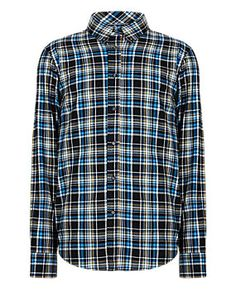 Navy Mix Pure Cotton Thermal Checked Shirt