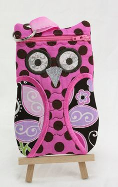 SALE!!   OWL cell phone zippered case, Brown and Pink fabric owl