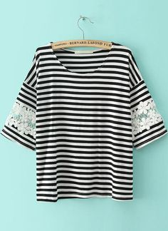Shop Black White Striped Lace Loose T-Shirt online. SheIn offers Black White Striped Lace Loose T-Shirt & more to fit your fashionable needs.