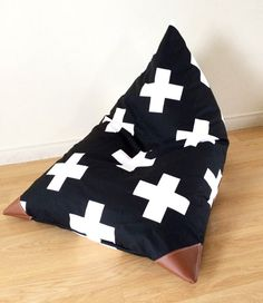 Black and White Swiss Cross Kids Bean Bag - Pouf - Printed Canvas and Leatherette Child Seat Bean Bag For Adults, Kids Bean Bags, Bean Bag Design, Diy Bean Bag, Four Seasons Room, Bean Bag Covers, Kids Seating, Baby Time, Chair Design