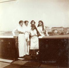 Empress Alexandra with her four daughters aboard the Standart, 1914