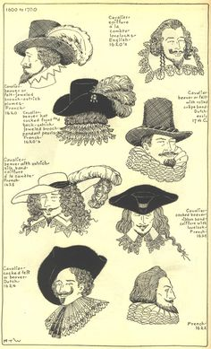 of hats and hairstyles from the century. Found on Drawings of hats and hairstyles from the century. 17th Century Clothing, 17th Century Fashion, 18th Century, Historical Costume, Historical Clothing, Landsknecht, Retro Mode, Period Outfit, Baroque Fashion