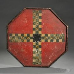 Octagonal Ludo Painted Game Board, America, late century, the green and white checkered designs on a red background with applied frame, 21 x 20 in. Antique Toys, Vintage Toys, Paint Games, Finding Treasure, Modern Dollhouse, Victorian Dollhouse, Vintage Board Games, Traditional Games, Old Games