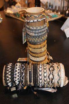 We are excited about this new bracelet line! Its easy to make a layered look with these fun pieces! Single strand $24, double $28, triple $32