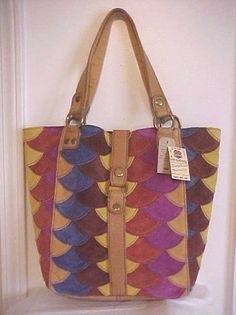 """Lucky Brand Scallopt Multi Color Suede genuine leather Tote  Suede leather scallop multi color Patches , Tan leather trim and Handles 9"""" drop, Fold over magnetic top closure, Fully lined with inner slip and zipper pockets, measures approx. 11"""" x 13"""" x 4.5"""""""