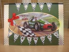 """This card measures A5 in size and comes with a white envelope and protected in a cello bag. The topper features a racing car, has gold foiled accents around the edge and has been raised to give dimension. The sentiment spells out """"Happy Birthday"""". A red bow has been used to decorate. The inside has been left blank for your own personal message.  http://www.makesellbuy.com/products/view/136299102663/handmade-birthday-card-racing-car"""