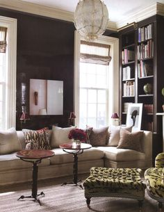 Love dark wall colors with cream/white trim. So cozy!