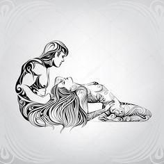 Скачать - Влюбленная пара в орнамент — стоковая иллюстрация
