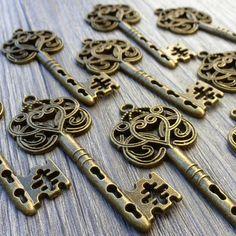 Wholesale Lot 20pcs Steampunk Victorian wholesale antique bronze skeleton key pendant charm necklace Alice in Wonderland 111  jewelry on Etsy, $14.99